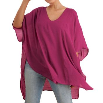 Umgee V-Neck Caftan Sheer Plus Size Tunic Berry