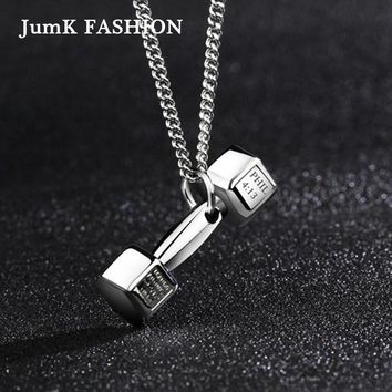 Fashion Titanium Steel Fitness Barbell Dumbbell Necklace Men Domineering Couple Pendant Female Personality Women Jewelry