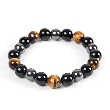 Men Bracelet Bangle Natural Stone Bracelets For Women 10MM Tiger Eye & Hematite & Black Obsidian Stone Bracelet Dropshipping
