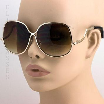 70'S Retro Vintage Large Big Oversized Metal Frame Brown Lens Women Sunglasses
