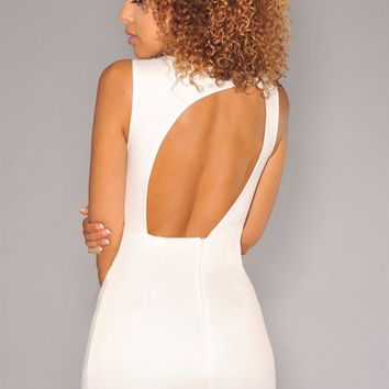 Mesh Cutout Sleeveless White Mini Dress