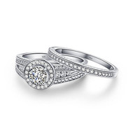2.8 Ct Round White Cz 925 Sterling Silver Wedding Engagement Ring Sets