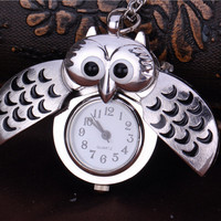 Vintage Silver Owl Pocket Watch Gift
