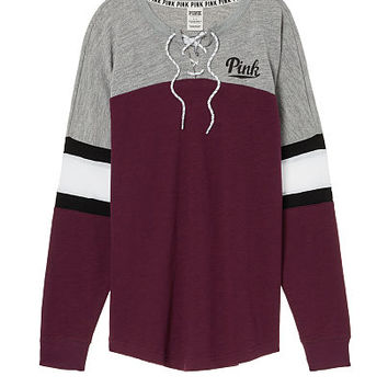 Victoria/'s Secret Pink Light Blue Dark Gray Black White Lace Up Varsity Crew M