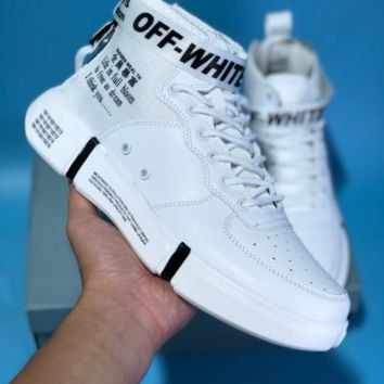 DCCK N595 Nike Air Force 1 AF1 Off White TM Will 5400 High Leather Skate Shoes White