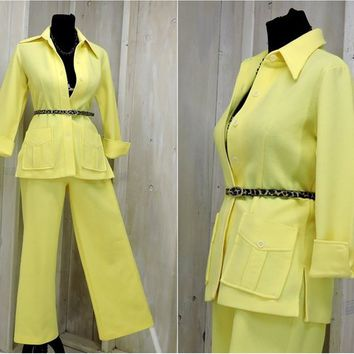 Vintage 70s pants suit / 1970s poly pant suit / Size S  5 / 6 / Mod / Hipster / Retro / 70s party / bell bottoms pants / summer pantsuit