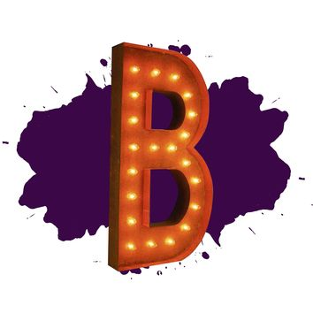 """36"""" Letter B Lighted Vintage Marquee Letters (Rustic)"""