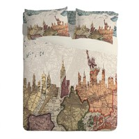 Belle13 New York Skyline Sheet Set Lightweight