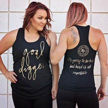 Goal Digger Black Tank Top