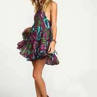 Purple Scarf Lace Up Tiered Dress - LoveCulture