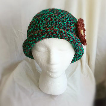 Crochet flower hat Brimed bowler cap Ladieschunky  cloche Teen girls roll brim Bright green navy brown
