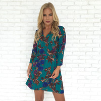 Passion Fruit Floral Wrap Dress in Teal