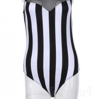 Black and White Striped Body Suit $18.99