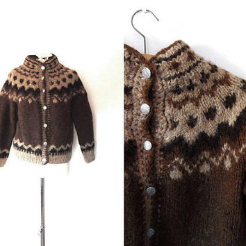 Icelandic Norwegian syle cardigan | brown | beige | vintage | silver button | high neck | warm | chunky | small | handknitted wool cardigan