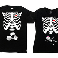 Matching Halloween Costumes Skeleton Shirts Pregnancy Couple Expecting Parents New Mom Dad To Be Ribcage T Shirt Mens Ladies Tee - SA844-379