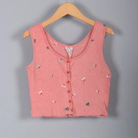 Childrens Vintage 70s Girls Pink Flowers Button Up Crop Tank Top Summer Casual Pool Beach