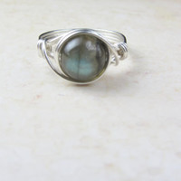 Labradorite Wire Wrapped Ring, Sterling Silver Filled, Any Size