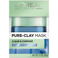 L'Oreal Paris Pure Clay Mask, Clear & Comfort, 1.7 Fl Oz - Walmart.com