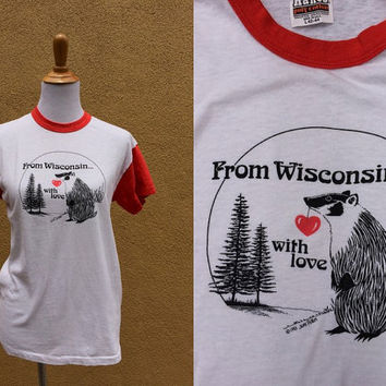 Vtg 80's Wisconsin Badger shirt red white t-shirt tee short sleeve ringer with love travel