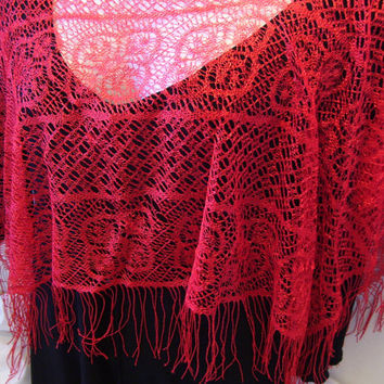 Red Lace Poncho With Fringe at Hem Sexy Over Blouse Dressy/Evening Accessory to Dress Up any Outfit for a Different Look One Size