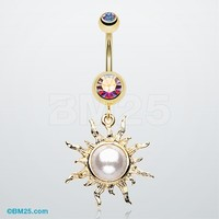 Golden Blazing Sun Belly Button Ring