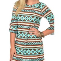 Jody Women's Turquoise & Orange Aztec Print 3/4 Sleeve Dress