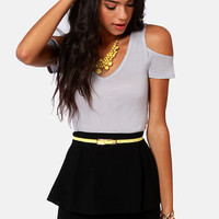 Tee Party Cutout Light Grey Top