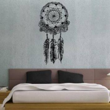Dreamcatcher Dream Catcher Feathers Wall Vinyl Decal Art Sticker Home Modern Stylish Interior Decor for Any Room Smooth and Flat Surfaces Housewares Murals Graphic Bedroom Living Room (2516)