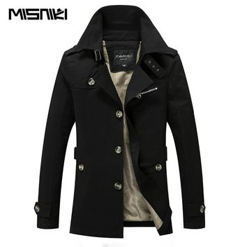 MISNIKI 2017 New High Quality Spring Autumn Trench Coat Men Solid Slim Fit Cotton Men Casual Jacket Outwear (Asian SIze)