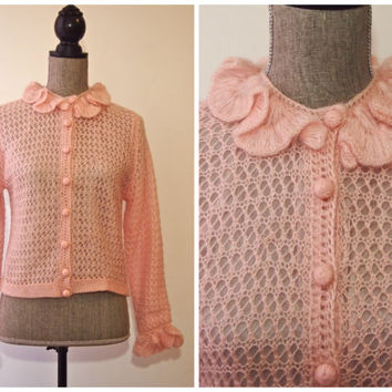1960s Pale Pink Cardigan / Peck & Peck Sweater / Size M