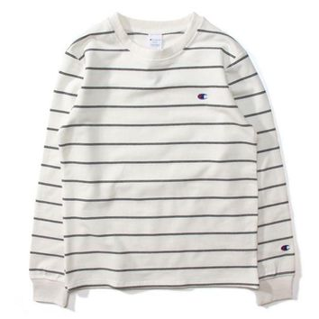 ESBUF3 Champion Women Men Stripe Fashion Pullover Tops Sweater Hoodie White