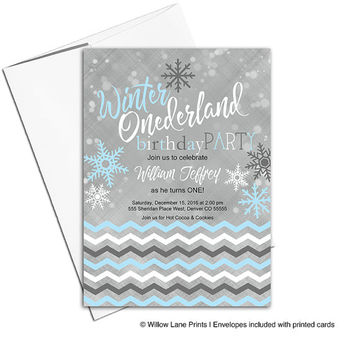 Winter onederland party 1st first birthday invitations for boys birthday | winter onederland invites | printable or printed - WLP00327