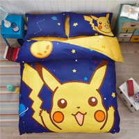 Cute Pikachu Bedding Set Pokemon Minions Hello Kitty 3-4pcs Cartoon Duvet Cover Bed Sheet Pillowcase for Kid Adult Free Shipping