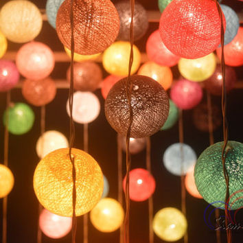 Mixed by Yourself Bedroom Decorate Garland Christmas Light Cotton Balls Hanging Fairy Lights Patio Holiday (20 Lights/Set)
