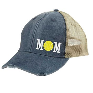 Tennis Mom Distressed Snapback - off-center