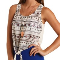 Tie-Front Printed Chiffon Tank: Charlotte Russe