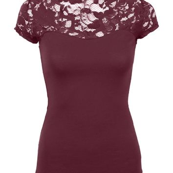 Juniors Floral Lace Top Fitted Cotton Scalloped V Neck Short Sleeve Tee Shirt