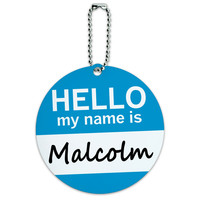 Malcolm Hello My Name Is Round ID Card Luggage Tag