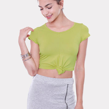 Front Tie Solid Crop Top - Lime