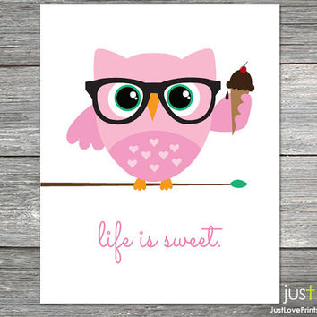 Cute Hipster Owl Eating Ice Cream - Life is Sweet - Multiple Color Options & Sizes