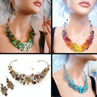 Custom OOAK Parure - Statement jewelry - Crocheted & sculpted necklace, earrings, and ring - Made to order - Custom Bridal Jewelry