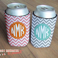 12oz Can Koozie Chevron Personalized Monogram by itsPersonal2