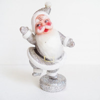 Vintage Santa Dancing Silver Glitter Christmas Vintage Collectibles Home Decor