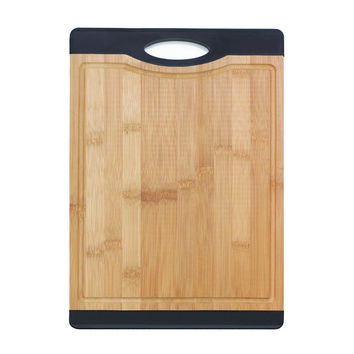 Bamboo Cutting Board with Red Rubber Grip