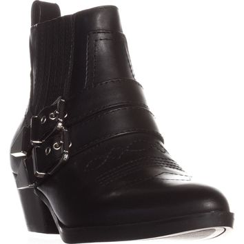Guess Violla Casual WesternAnkle Boots, Black Leather, 6.5 US