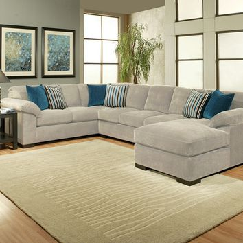 3 pc Dragonfly collection dove colored fabric upholstered sectional sofa set with over stuffed arms