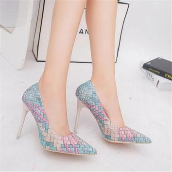 Multi-color Snake Print Heels