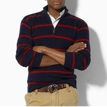 Winter Thick Sweater Men Striped Knitted Turtlneck Jumper