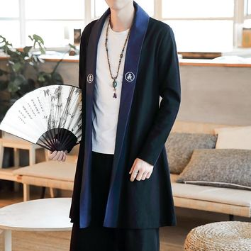 Trendy Male  Overcoat Men Cotton Linen Long Slim Fit Coat Chinese Style Robes Jacket Kimono AT_94_13