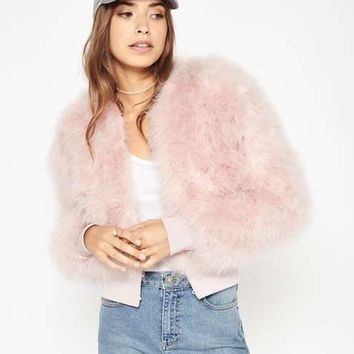 Nude Feather Bomber Jacket - View All - New In